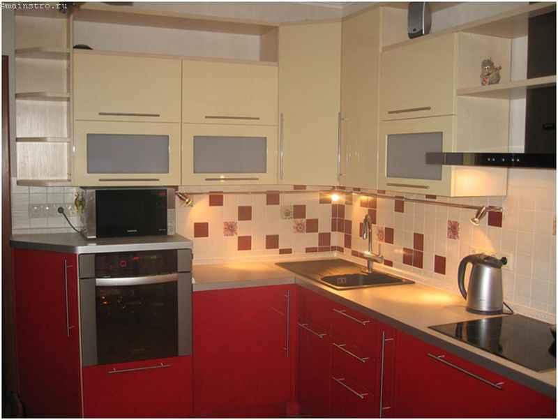 Мебель для кухни красного цвета из МДФ