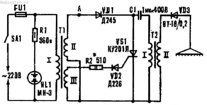 Электрическая схема электроэффлювиальной люстры