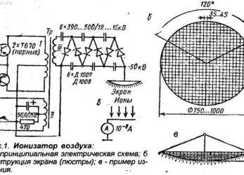 Ионизатор воздуха. Электрическая принципиальная схема.