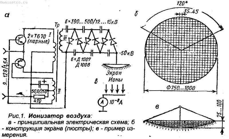 Ионизатор воздуха. Принципиальная электрическая схема