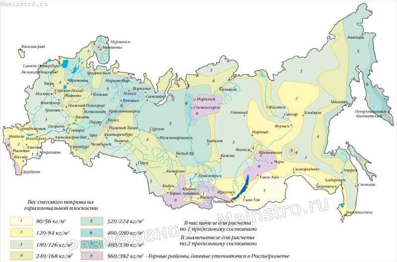 Районирование территории Российской Федерации по расчетному значению веса снегового покрова.