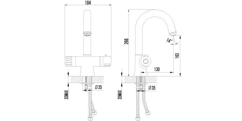 Смеситель для раковины Lemark Thermo LM7736C