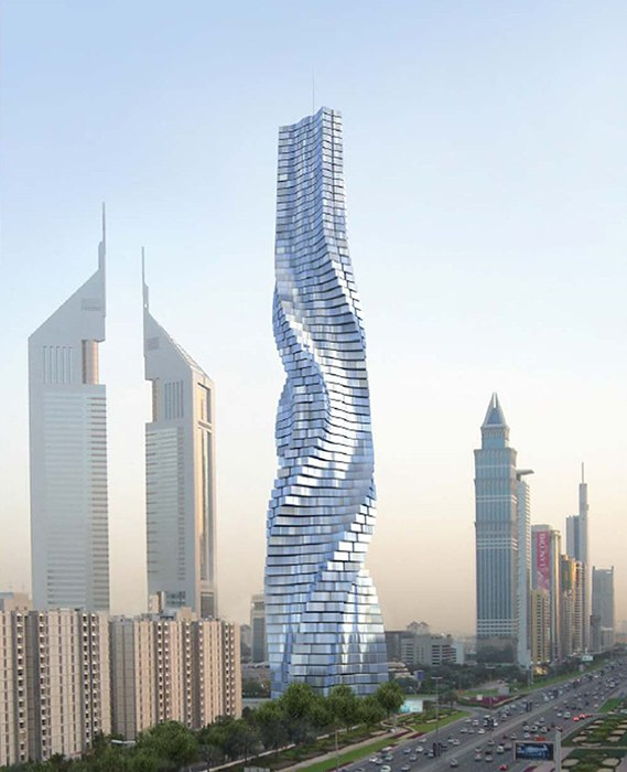 Вращающиеся под влиянием ветра башни в Дубае  ОАЭ