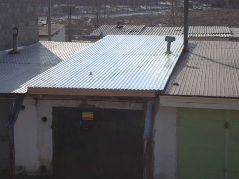 Рубероид на крыше гаража